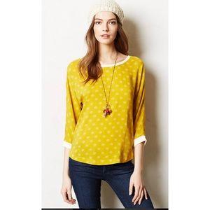 Maeve Ayton Top 4 Yellow Blouse 3/4 Dolman Sleeve